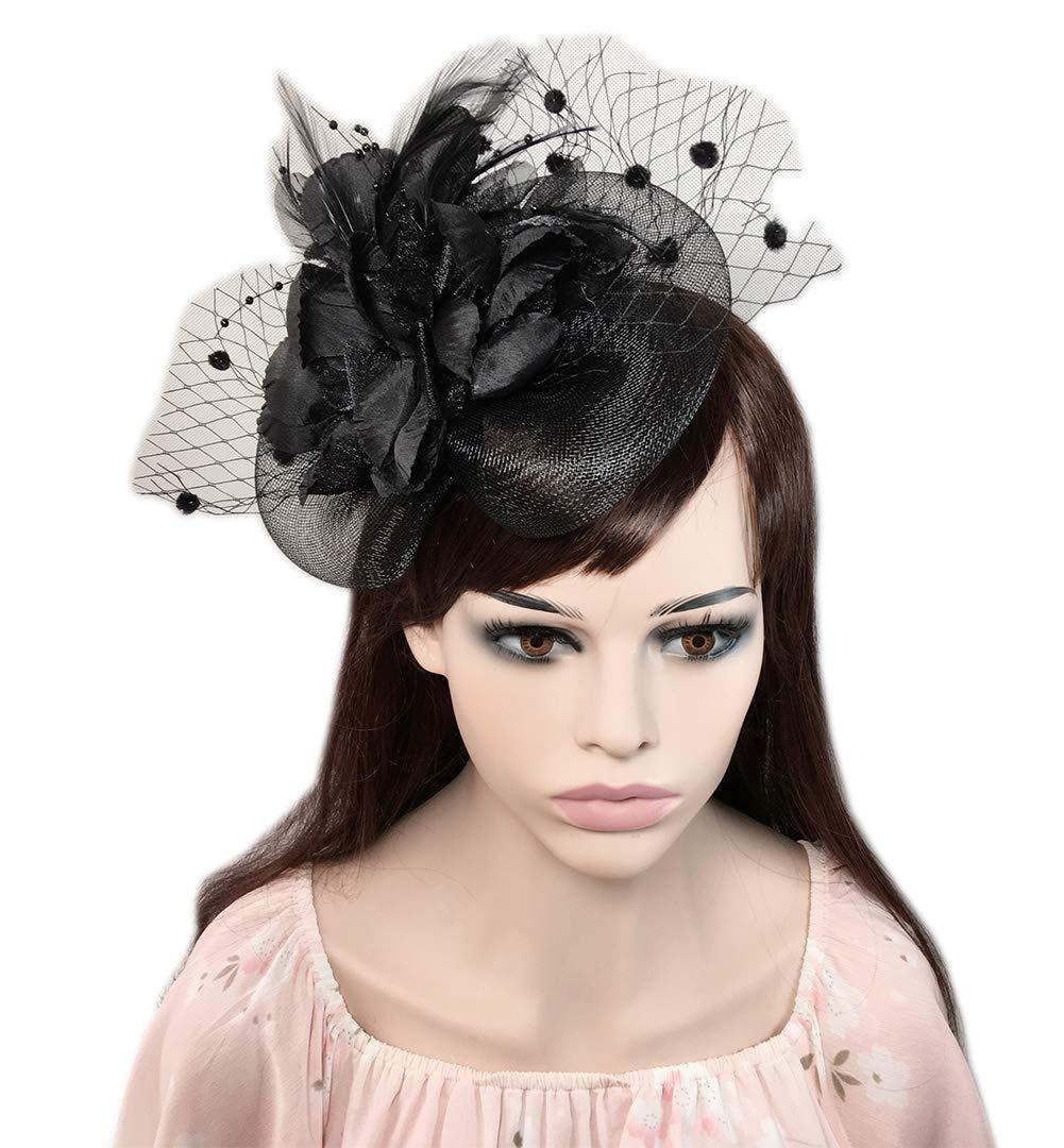 YSJOY Womens Feather Flower Sinamay Fascinator Wedding Hair Aceessory Church British Bowler Hat Summer Derby Hat Cocktail Tea Party Hat Black