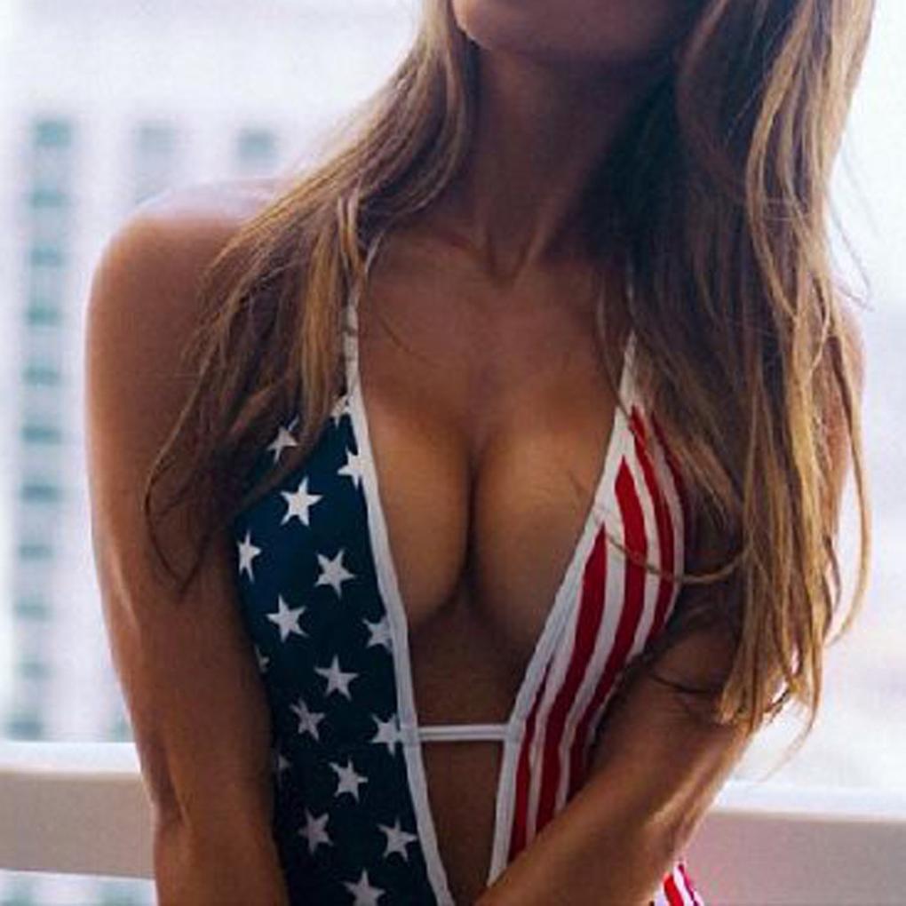 21b2843b470ac Fiaya 4th of July Women's American Flag Sexy Deep V Neck One Piece Beach  Swimwear Monokini Thong Bikini Swimsuit Bodysuit at Amazon Women's Clothing  store: