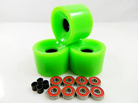 Big Boy 70mm Gel Solid Skateboard Wheels + ABEC 7 Bearings Spacers (Solid Green)