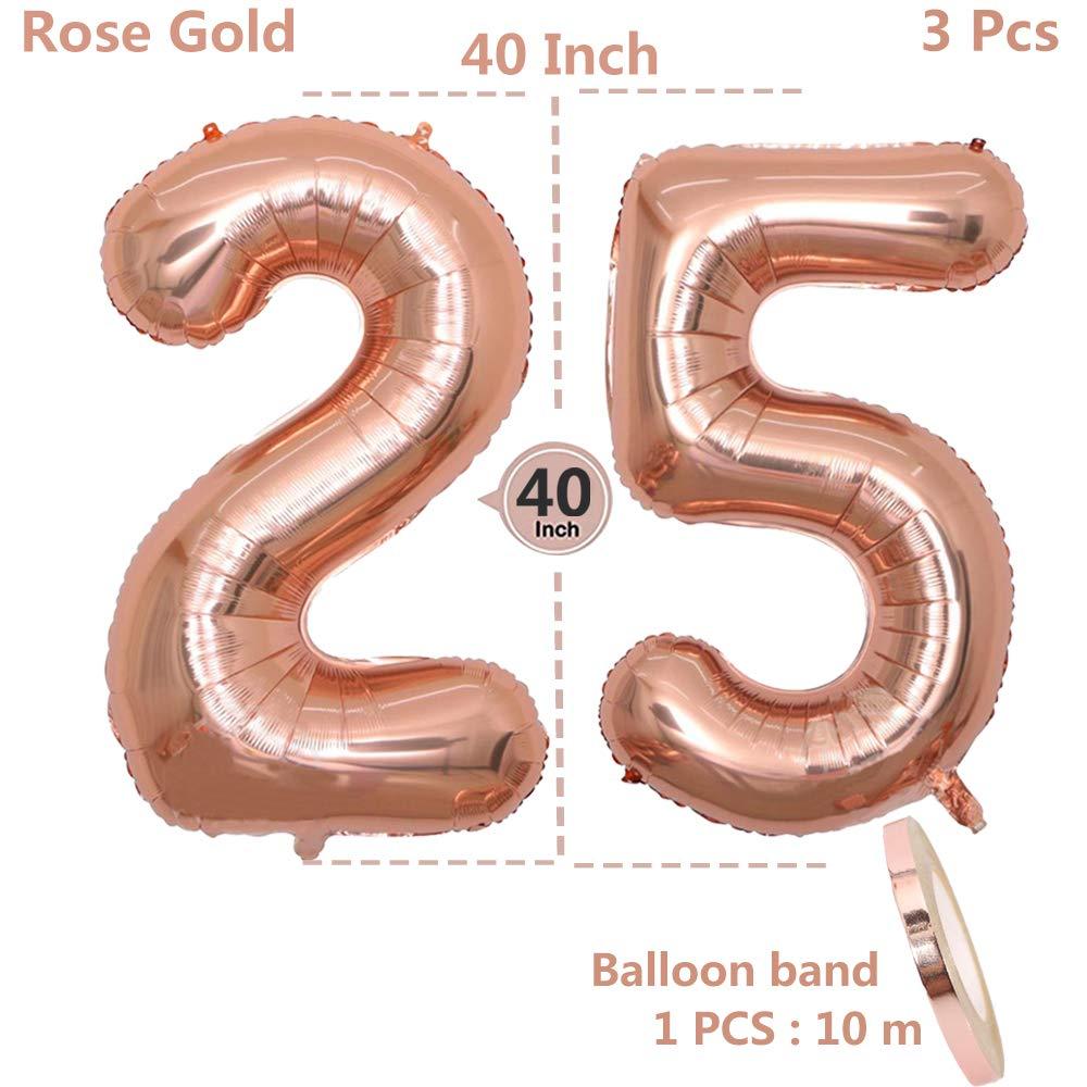 f95e625c7724 2 Luftballons Zahl 25, Nummer 25 Luftballon Rosegold Mädchen ,40