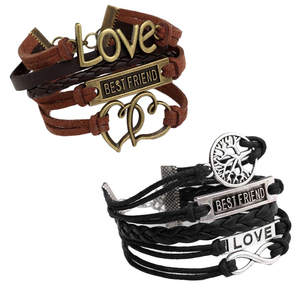 JOVIVI Multilayer Charm Infinity Love Best Friend Wish Wrap Cuff Bracelet ,2pc 2pc (Black&Brown) AJ10109002