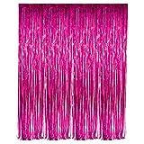 neon blue streamer - Fuchsia Foil Fringe Curtain – 3' X 8' (36