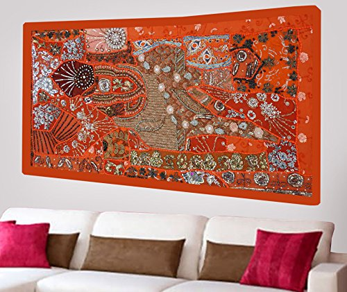 (Indian Home Decor Ethnic Wall Hanging Hippie Vintage Tapestry with Heavy Beads Hand Embroidered Sequins, Beads & Patchwork - 25 X 50 Inches)