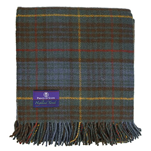 Prince of Scots Highland Tartan Tweed 100% Pure New Wool Fluffy Throw ~ Antique Hunting Stewart ~ (Wool Blanket Antique)