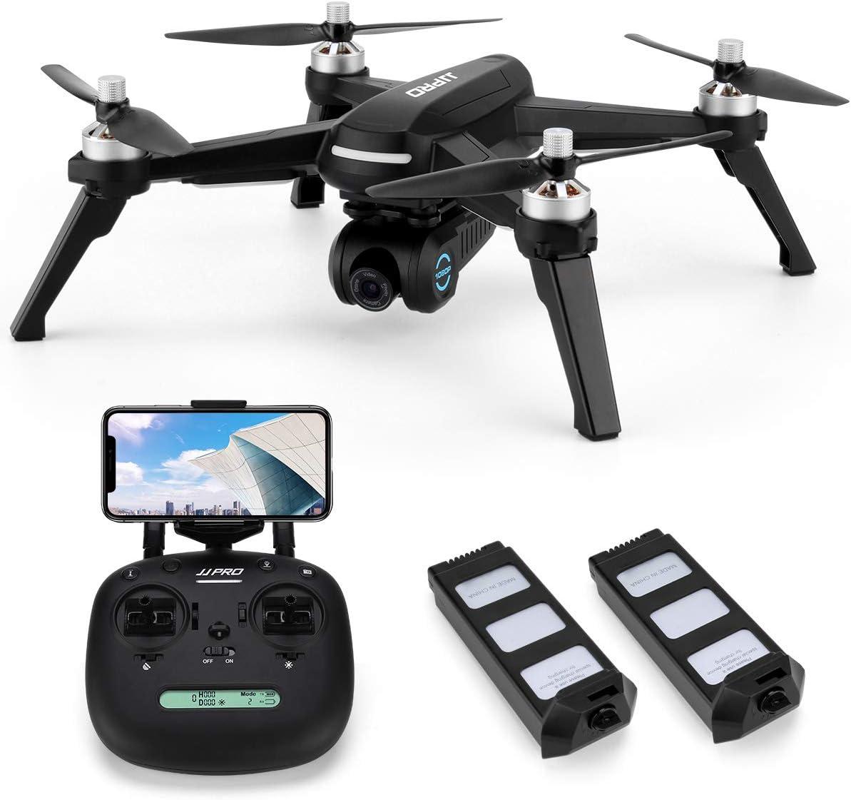 INKPOT JJRC JJPRO X5 GPS Drone con cámara HD Video en Vivo y GPS Regreso a casa Quadcopter con Motor sin escobillas y cámara Ajustable de 90 °, Sígueme, Largo Rango de Control, Altitud Hold (Negro)