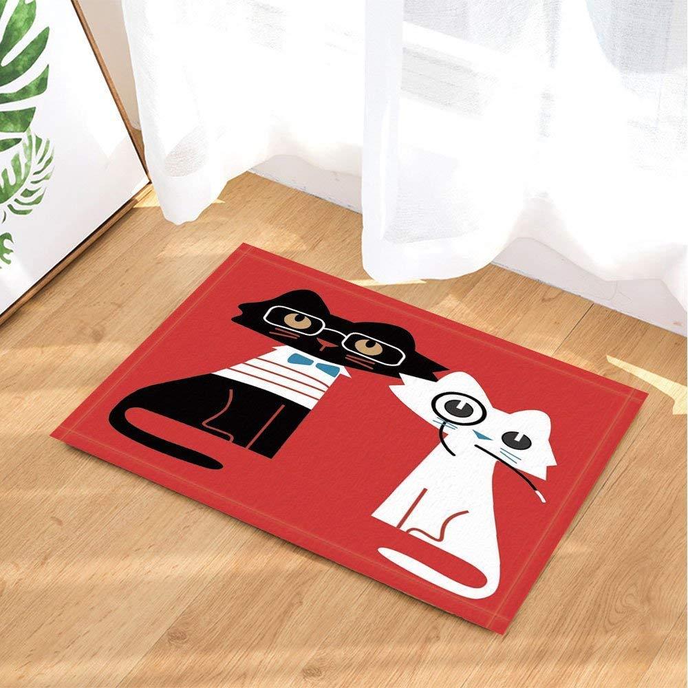 XHWL767 Fondo Rojo, Gato Blanco Negro, Corbata Azul, Gafas con ...
