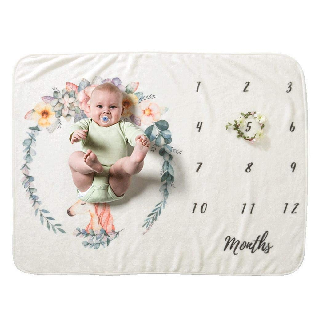 rabate Baby Cartoon Printed Photography Backdrop Soft Baby Milesto Receiving Blankets by rabate