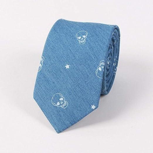 GLMXJJ Moda Hueso De Pescado Mezclilla Corbata Masculina Azul ...