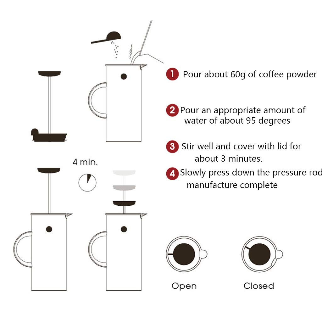 Coffee Pot Method Pressure Pot Coffee Pot Home Nordic Style French Filter Press Pot Teapot Capacity 1l by YQQ-Coffee Pot (Image #4)