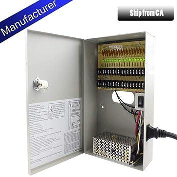 12 volt 12v 18 Camera UL-Listed CCTV DC Power Distribution Box 10A 10 Amp Fused