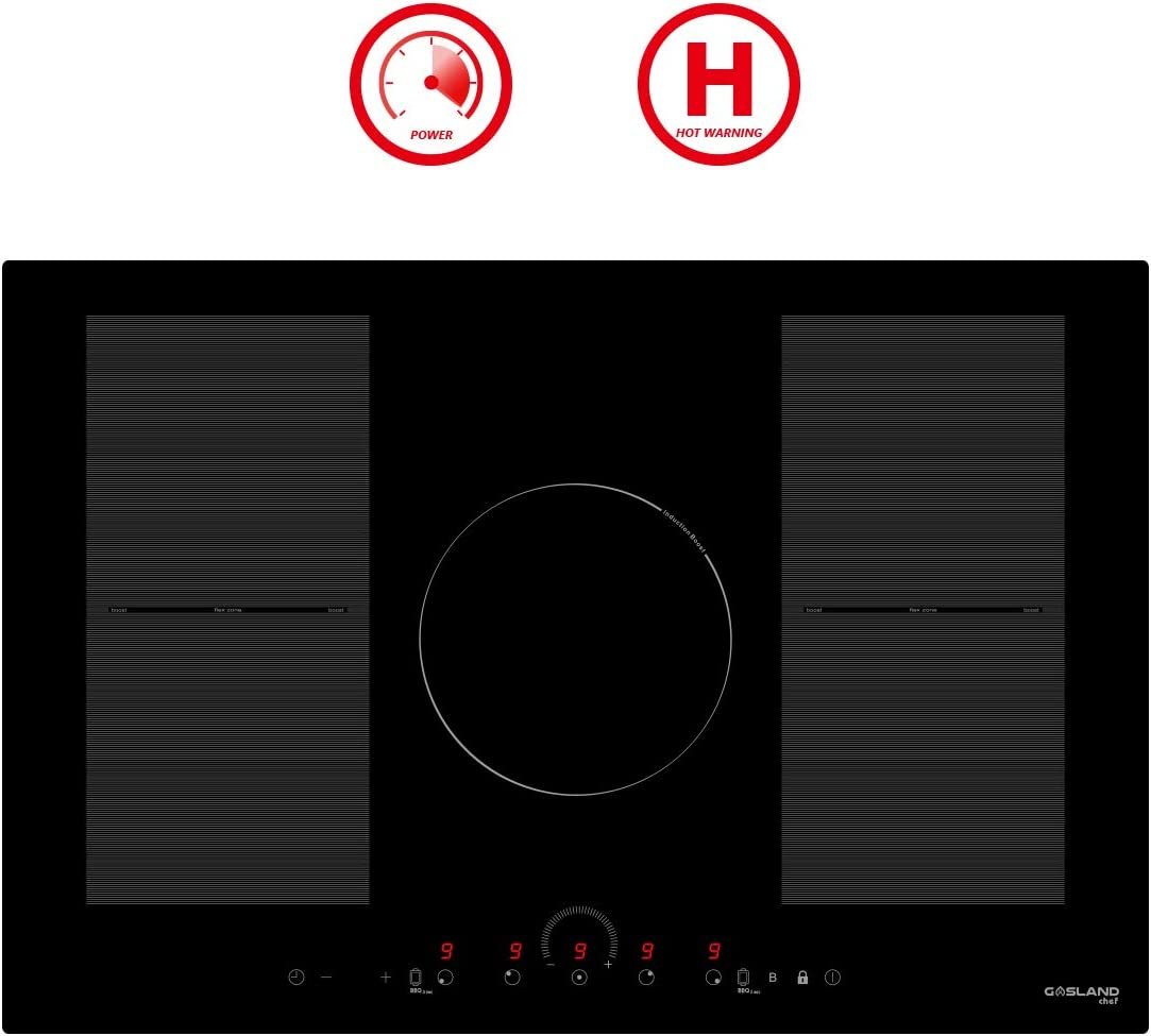 """30"""" Induction Cooktop, GASLAND Chef IH77BFH 220V Built-in Electric Induction Cooker, 5 Burner 30 Inch Electric Induction Stove Top, Flex Zone, Power Boost, Safety Lock"""