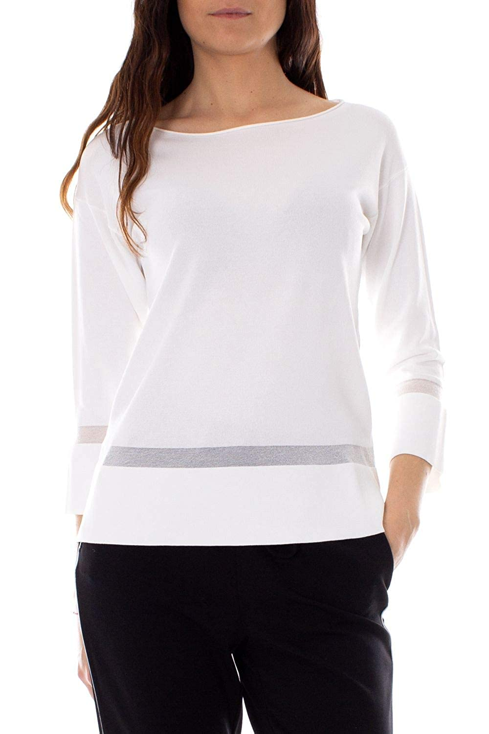 ANIS COLLECTION MILANO Womens 933066WHITE White Viscose Jumper