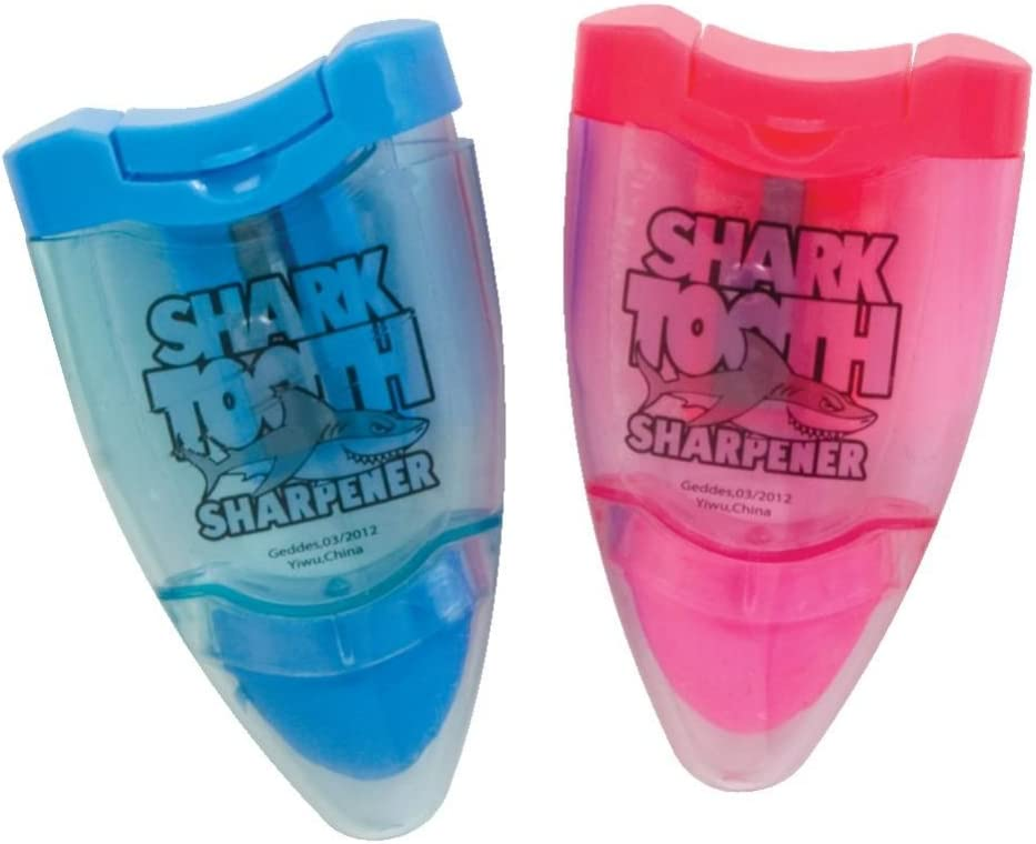 Raymond Geddes Shark Tooth Pencil Sharpener and Eraser, 24 Pack (68878)