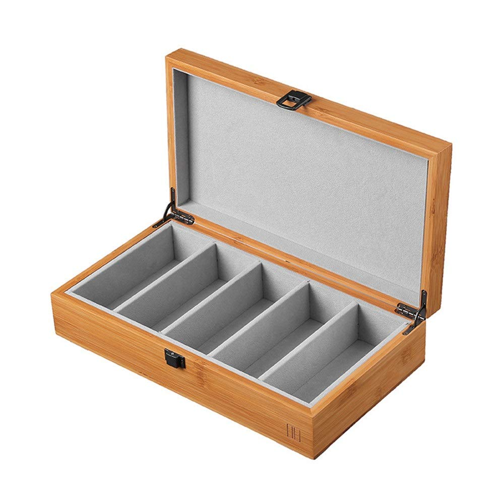 Durable Bamboo Wood 5 Glasses Storage Box Retro Chinese Wooden Glasses Case Show Your Collection Very Well (Color : Bamboo Wood(32.81810cm)) by YonCog