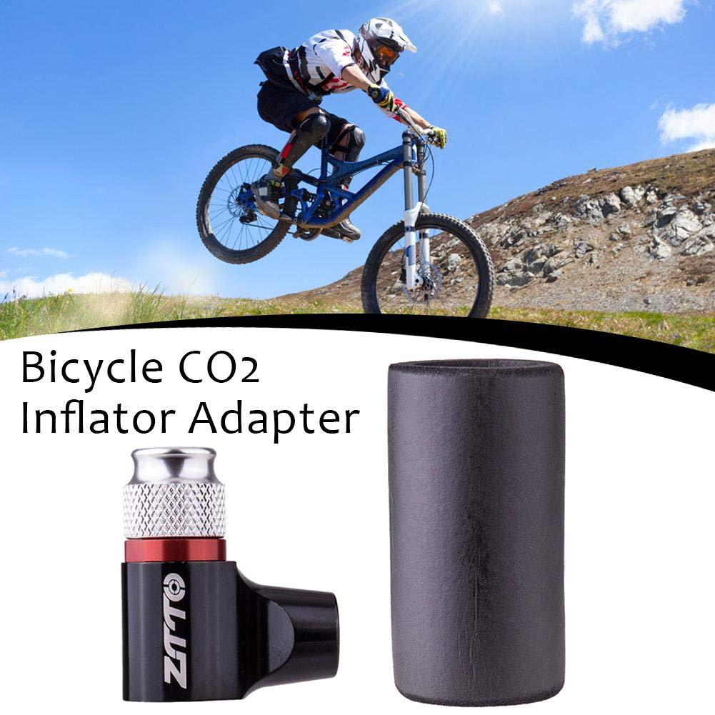 Inflador de neum/ático de bicicleta de CO2 adaptador de bomba de neum/ático de bicicleta r/ápido y f/ácil con manguito aislado para bicicletas de carretera y monta/ña,v/álvula Presta y Schrader compatibles