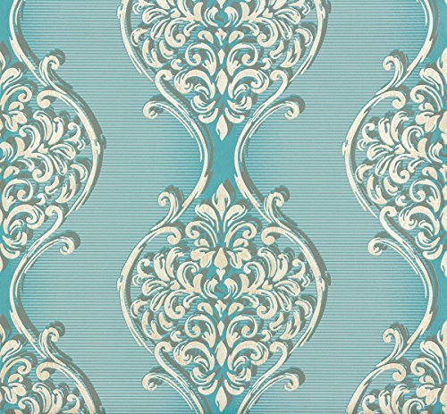 Vlies Tapete Erismann VISIO 6948-18 florale Ornamente Türkis Grau Silber Glitzer