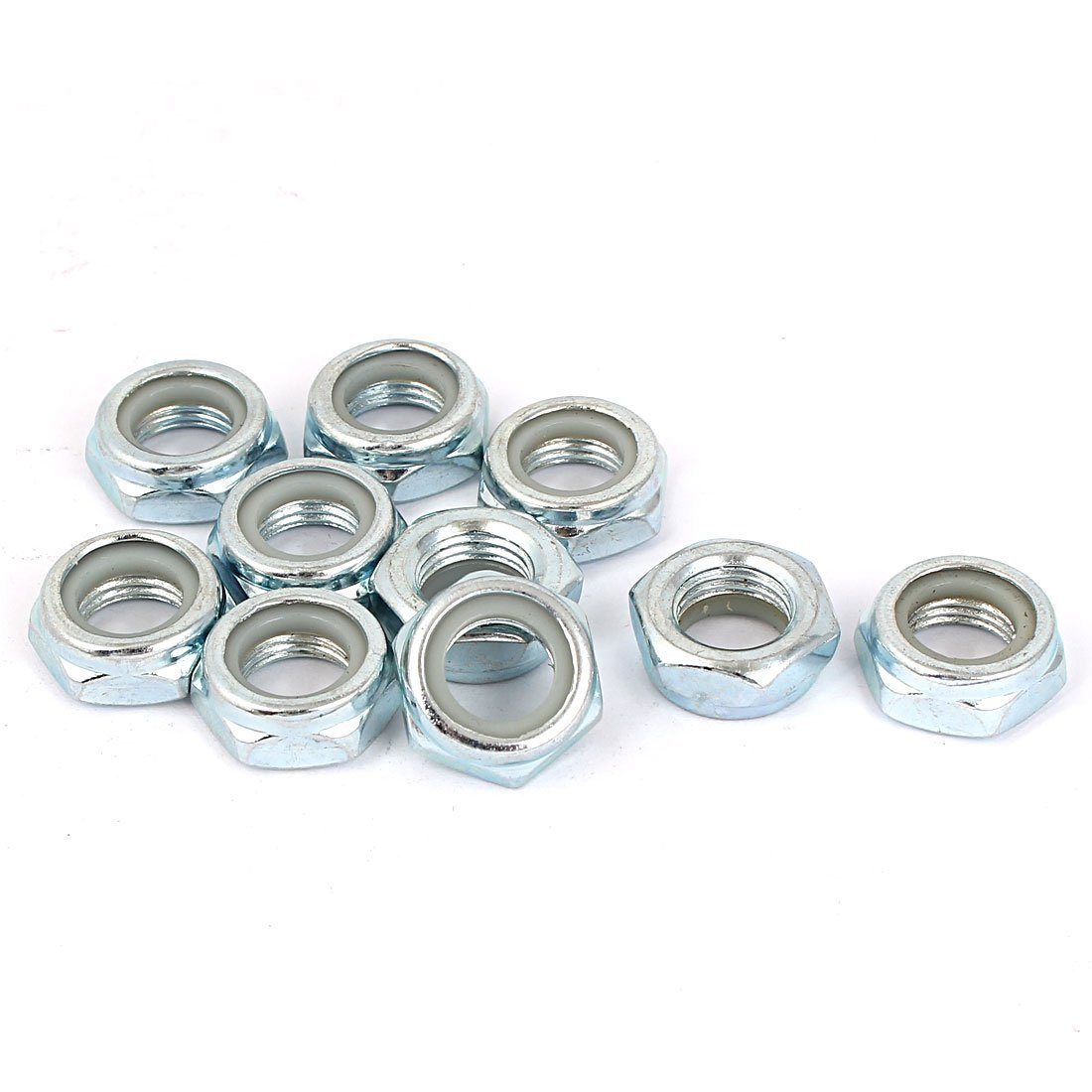 M12x1.25mm Hexagonal Safety nut with 10pcs self-Adhesive Nylon Insert