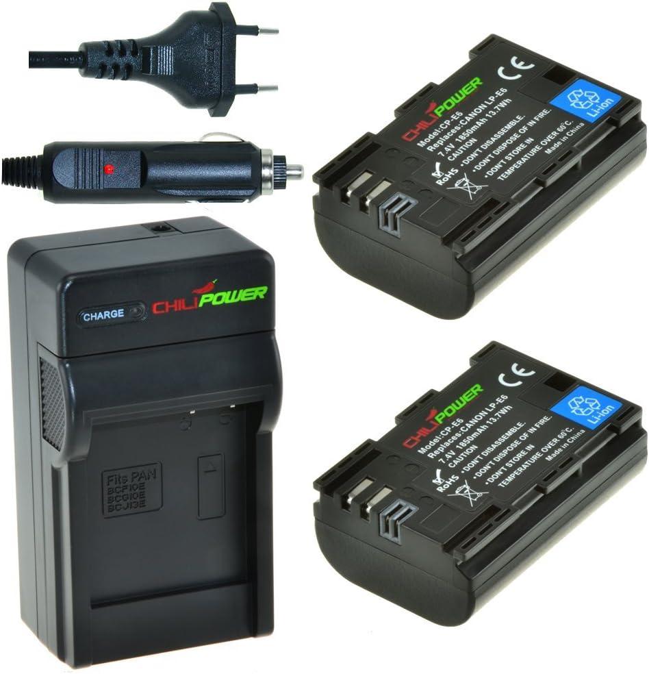 2x Batería + Cargador ChiliPower Canon LP-E6 1850mAh para Canon ...