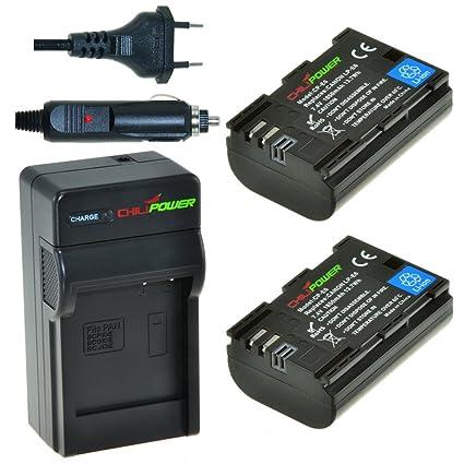 2x Batería + Cargador ChiliPower Canon LP-E6 1850mAh para Canon EOS 6D, EOS 7D, EOS 60D, EOS 60Da, EOS 70D, Canon EOS 5D Mark II, EOS 5D Mark III