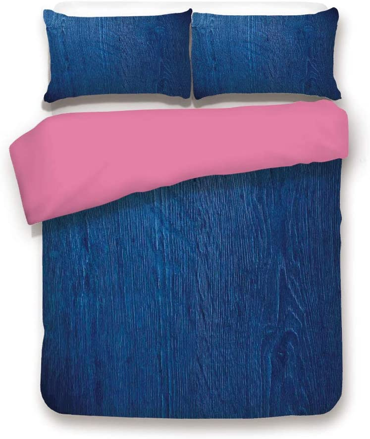 LCGGDB California King Size 3D Printed Bedding Set,Photo of Oak Wood Texture Nature Style Vintage Artprint Home Decorative 3 Piece Bed Sets,1 Comforter Cover with 2 Pillow Shams,Royal Blue