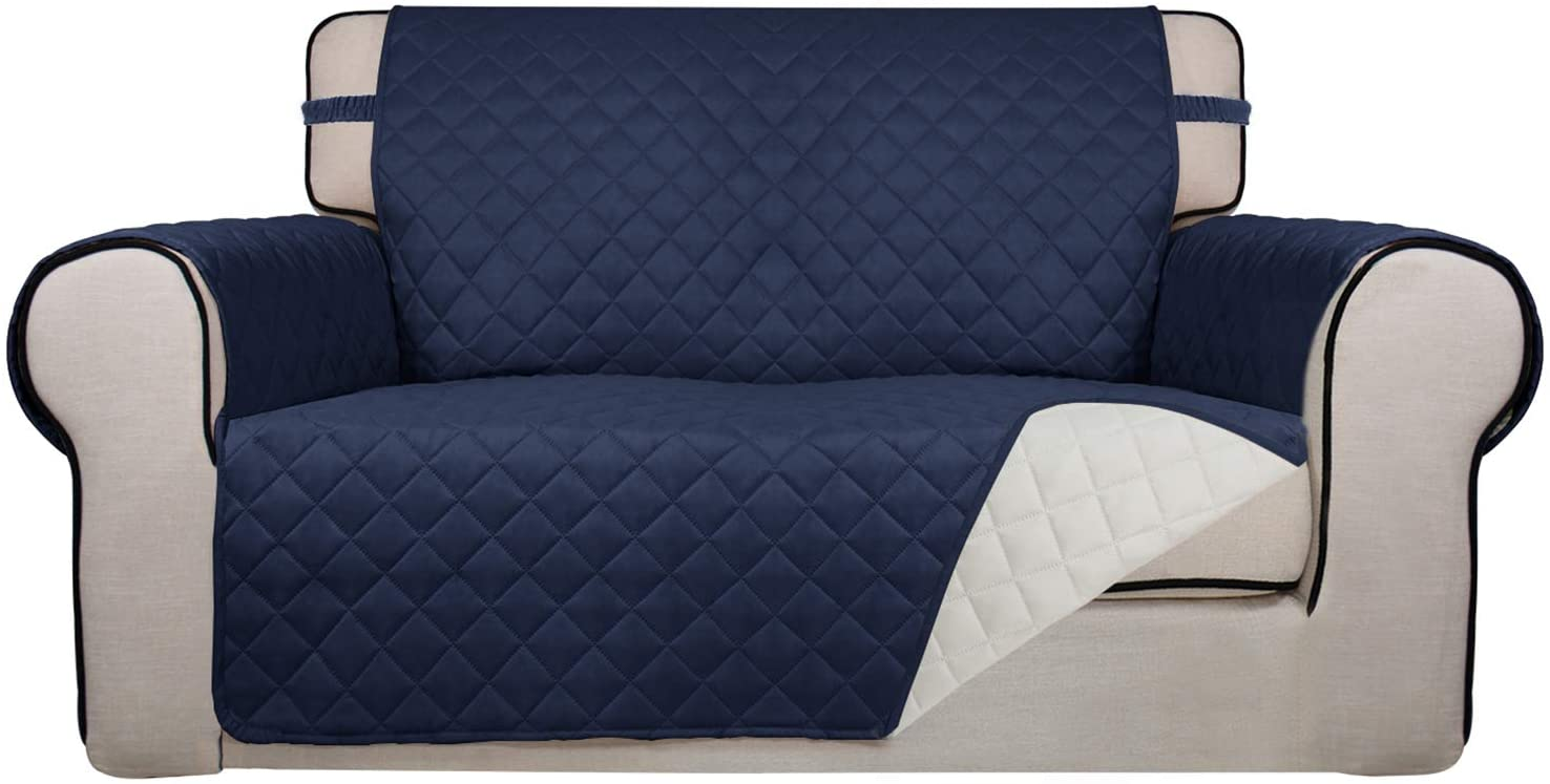 PureFit Reversible Quilted Sofa Cover, Water Resistant Slipcover Furniture Protector, Washable Couch Cover with Non Slip Foam and Elastic Straps for Kids, Dogs, Pets (Loveseat, Navy/Ivory)