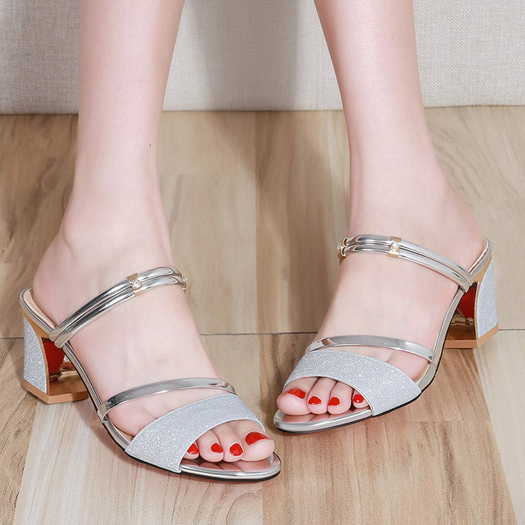 Women Open-Toe Thick Heel Sandals Platform Sandals Two Wear Wild High-Heeled Shoes