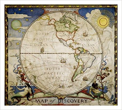 National Geographic: Map Of Discovery, Western Hemisphere Wall Map (19 X 21  Inches) (National Geographic Reference Map) 2012th Edition