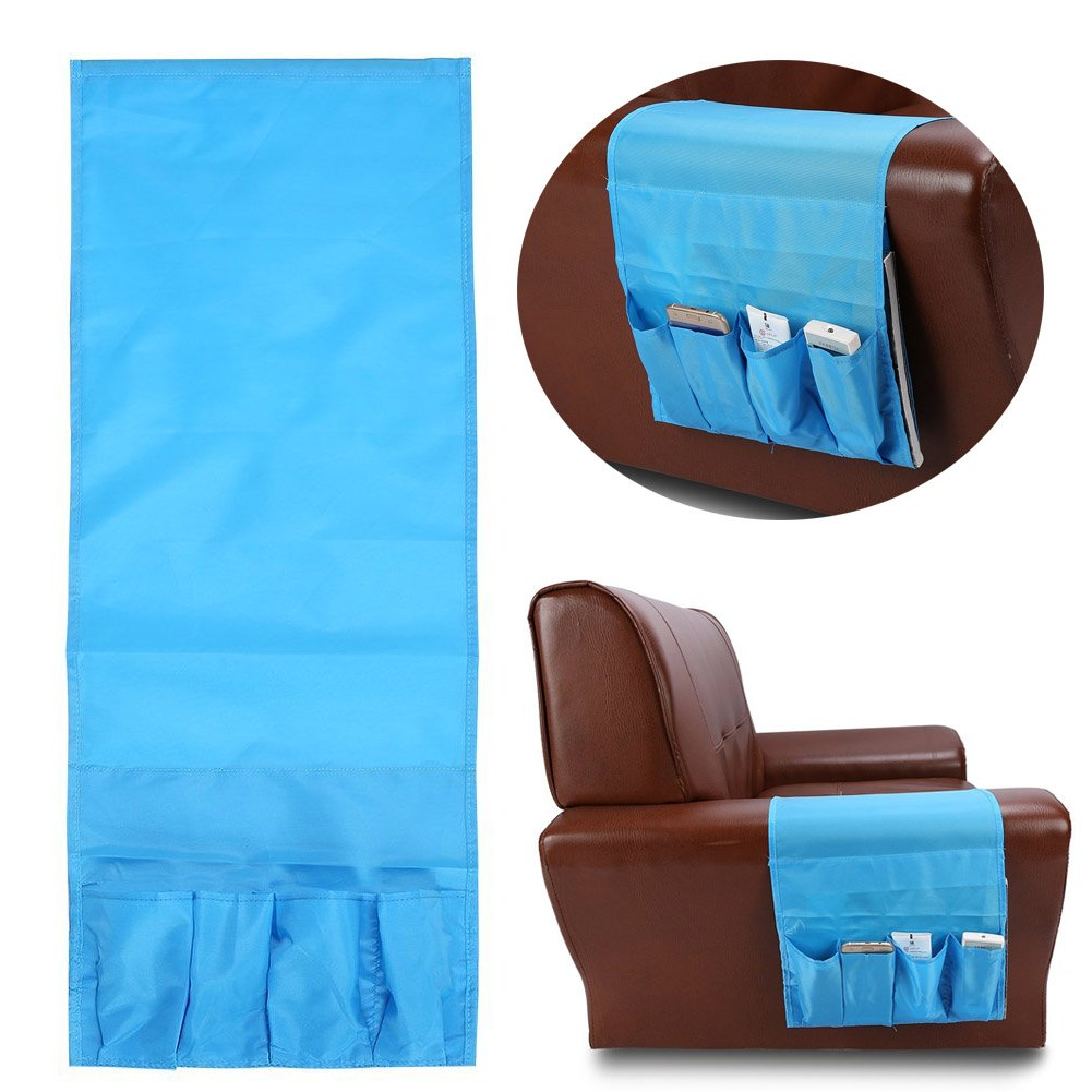 Multi-functional Couch Hanging Storage Bag Pocket Sofa Armchair Remote Control Holder Organizer By Delaman (Blue) CM-0085-02