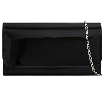 454d6764b fi9® Plain Patent Wedding Ladies Party Prom Evening Clutch Hand Bag Purse  (Black)