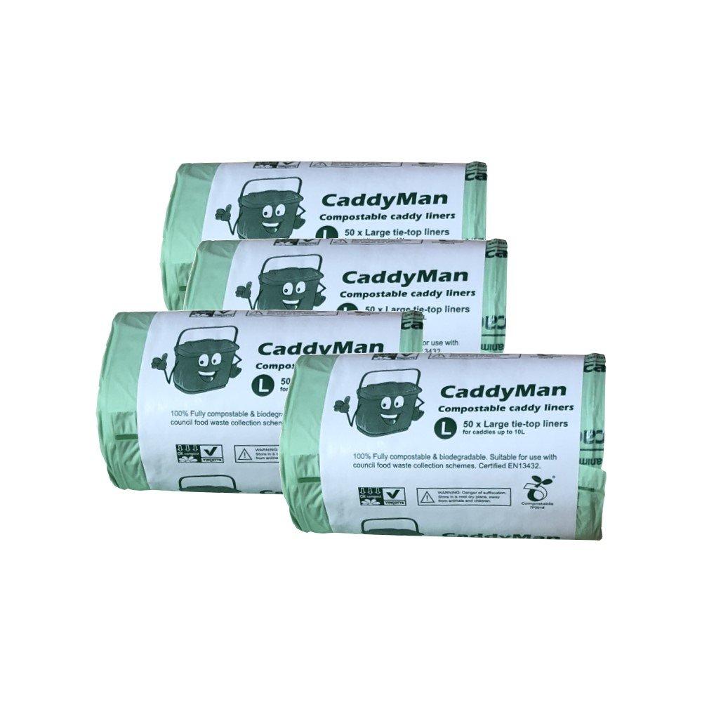 200 x 10 Litre Tie-Top CaddyMan Compostable Food Waste Caddy Bin ...