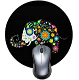 Printed Round Mouse pad, Colorful Flower Elephant Office Desktop or Gaming Cloth Surface Natural Rubber Round Mouse Mat…