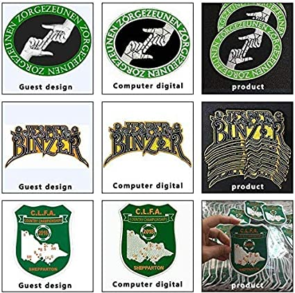 Custom Design Embroidery Patches Any Size Any Logo Decorative Patches Iron on Sew on Hook /& Loop Fasten Under 4inch, 100pcs