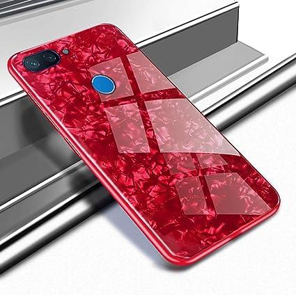 SPAK Xiaomi Mi 8 Lite Funda,Vidrio Templado Back + Soft TPU Frame Cubierta Carcasa para Xiaomi Mi 8 Lite (Rojo)