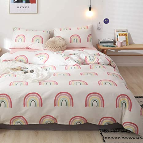 with Zipper Closure 100/% Cotton 3 pcs Set Twin Rainbow Bedding Set for Girls Teens Luxury Ultra Soft Breathable No Comforter Rainbow Duvet Cover Cute Colorful Rainbow Print Pattern