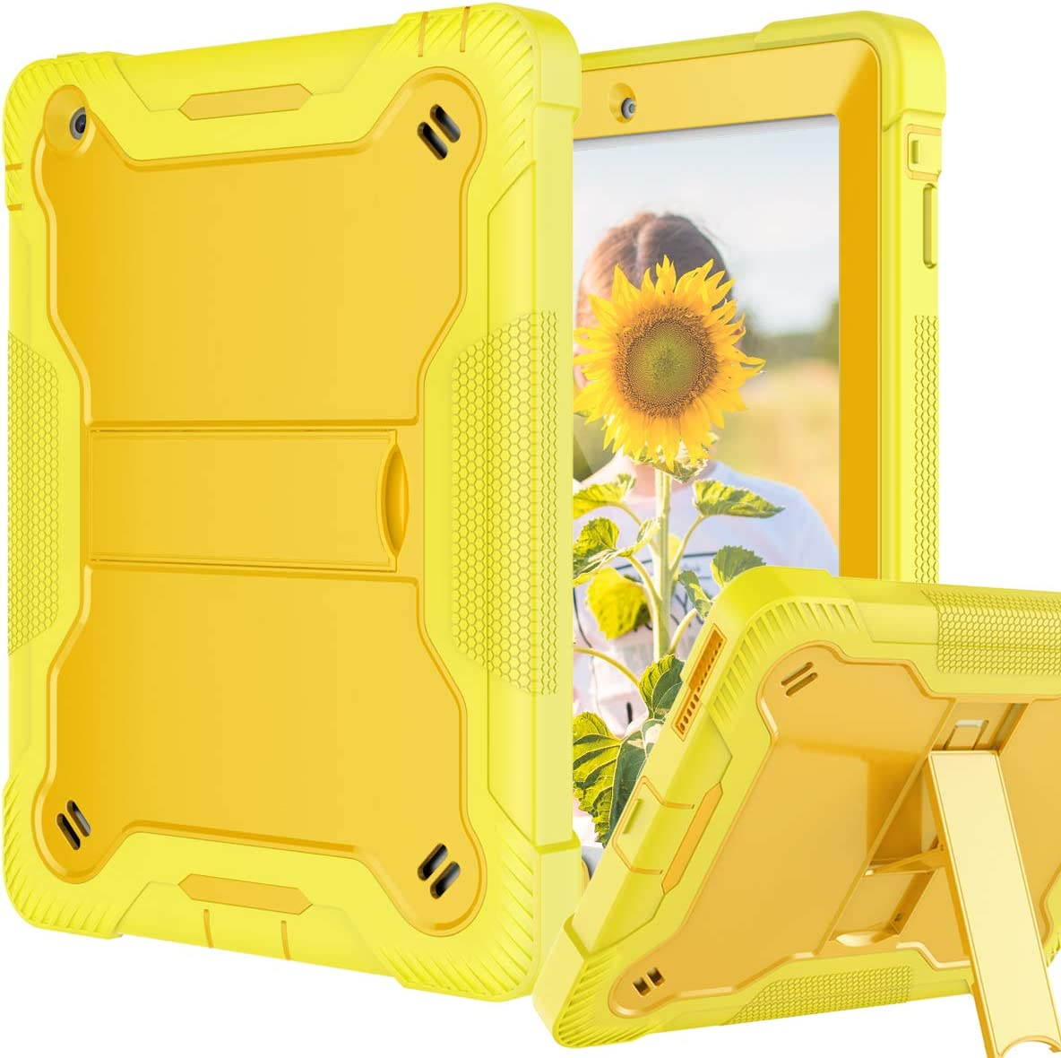 Fingic iPad 2 Case, iPad 3 Case, iPad 4 Case, Kickstand Shockproof Heavy Duty High Impact Resistant Rugged Rubber Three Layer Armor Full Body Protection Cases for iPad 4th/3rd/2nd Generation, Yellow