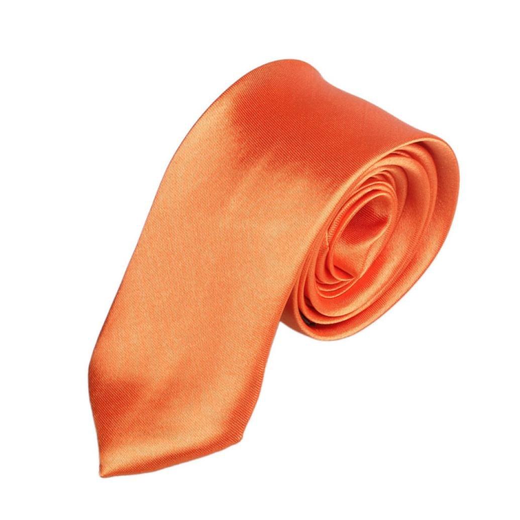 Perman Casual Slim Plain Mens Solid Skinny Neck Party Wedding Tie Necktie (Orange)