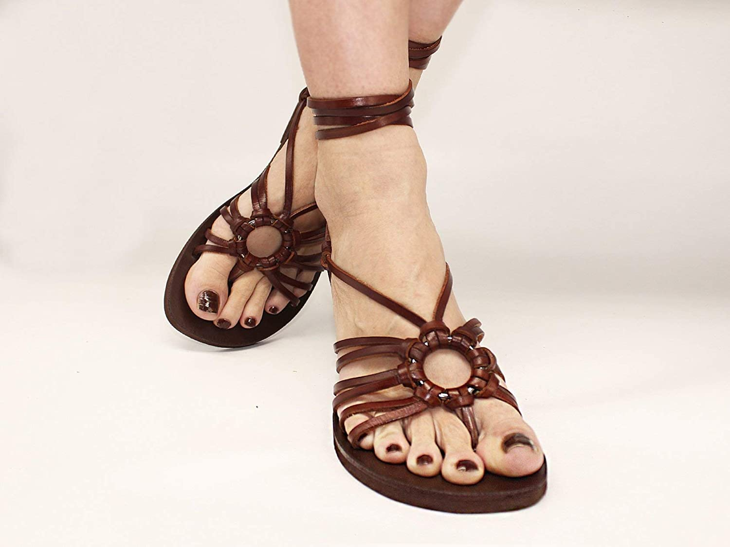 29a65fb7ea350 Amazon.com: Strappy Flats, Unique Style Lace Up Sandals Made Of ...