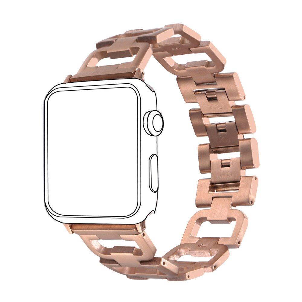 Bandmax Bracelet pour Apple Watch 42MM Apple Watch Strap Plaqué Or Rose Bracelet de Remplacement Réglable pour Montre Connectée Apple Watch Séries 1 Séries ...