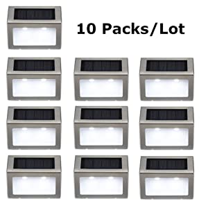 Bjour Solar Step Lights Outdoor LED Wireless Stair Light Waterproof Stainless Steel Pathway Floor Wall Patio Lamp for Yard Pathway, Cold White, 10 Pack