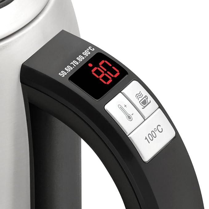 Riviera & Bar QD656A 1.5L 2200W Negro, Acero inoxidable - Tetera eléctrica (1,5 L, Negro, Acero inoxidable, Acero inoxidable, Botones, 30 min, ...