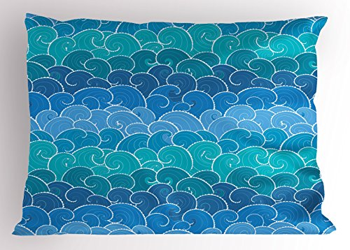 Lunarable Nautical Pillow Sham, Doodle Style Waves with Curvy Lines Ocean Storm Abstract Seascape, Decorative Standard King Size Printed Pillowcase, 36 X 20 inches, Blue Teal and Turquoise by Lunarable (Image #2)