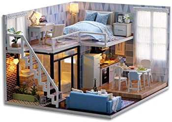 Cutebee Blue Miniature Dollhouse with Furniture