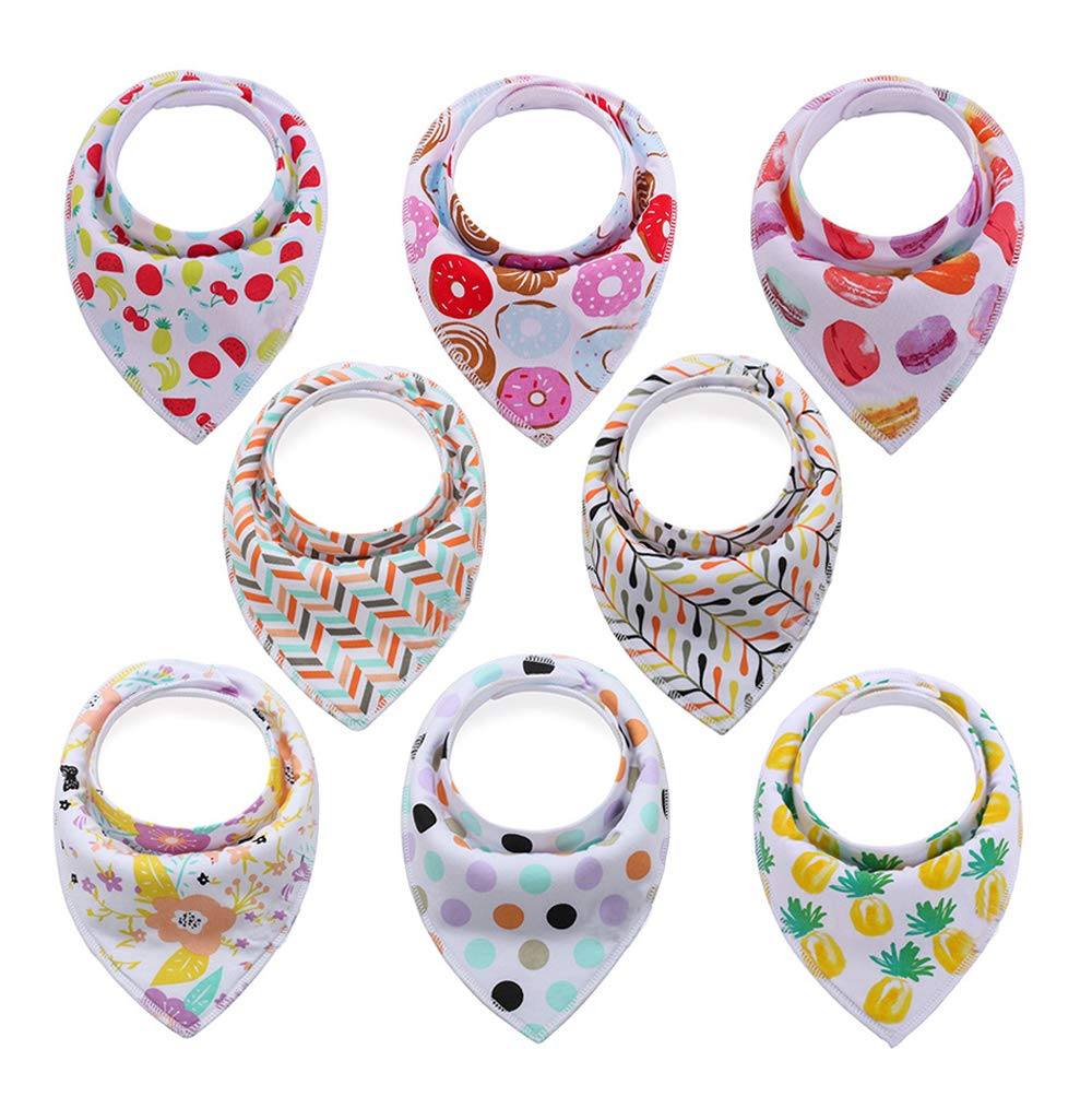Baby Bandana Drool Bibs With Snaps (8 Pack) For Boys and Girls - Super Absorbent, Soft and Modern - Best Baby Shower Gift (BC071) BEELY