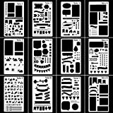 Bullet Journal Stencil Plastic Planner Stencils Journal/Notebook/Diary/Scrapbook DIY Drawing Template Stencil 4x7 Inch, 12 Pieces