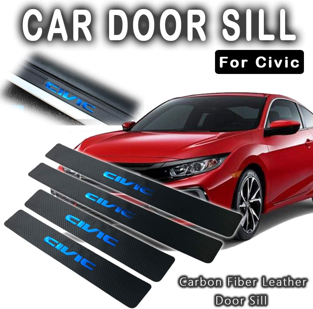 For Honda Civic 2005-2020 4-Door Sedan Carbon Fiber Leather Hot Stamping Gold FoilCIVIC Car Door Sill Scuff Plate Guard Sills Protector Trim Autoparts Accessories 4PCS(RED)