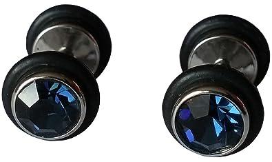 cameleon-shop - Pendientes de falso dilatador Plug - Acero inoxidable y goma - CZ azul de China - 8 mm: Amazon.es: Joyería