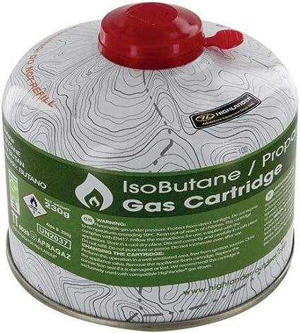 HIGHLANDER Bright Spark - Cartucho de Gas con tapón de Rosca, en Forma de cúpula, 1 Unidad, 11 cm de diámetro/ 230 g
