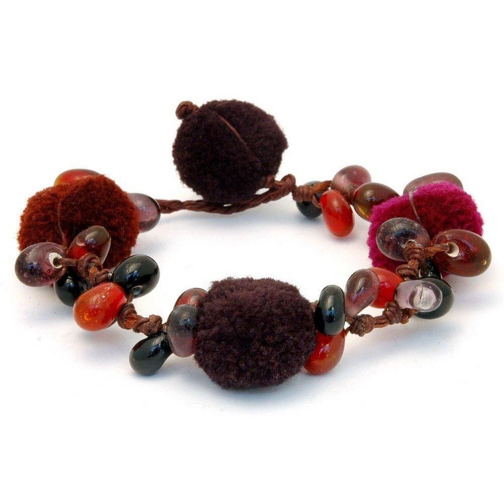 Joe Cool Bracelet Cluster Pom Pom Made with Glass /& Bead