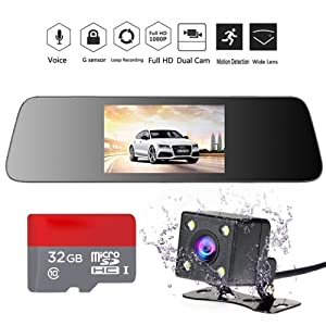 """INRIGOROUS HD Mirror Cam 4.3"""" 1080P Rearview Mirror Dual Lens Dash Cam in Car Camera Night vision Vehicle Camera with Rear Camera and 32GB Memory Card"""