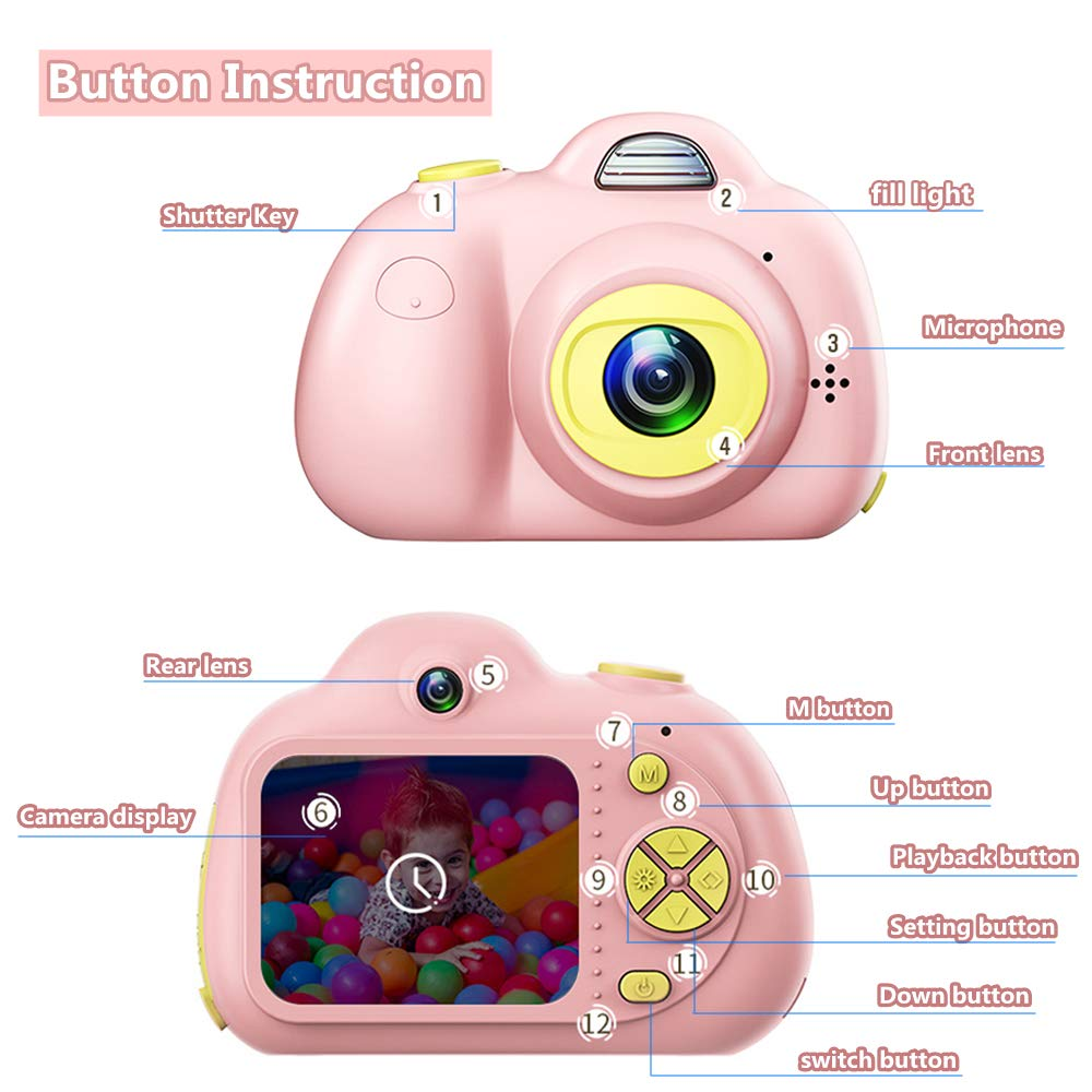 PerfectPromise Kids Toys Camera for Girls Boys,8MP Front and Back Camera 1080P HD Video Recorder Digital Camera for Children Girl Boy Gifts---Pink(32G TF Card Included) by PerfectPromise (Image #3)